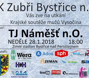 Hokejové utkání BK Zubři Bystřice n. P. x TJ Náměšť n. O.